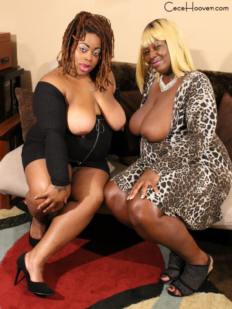Two big tit ebony babes ready to give head to a white cock.