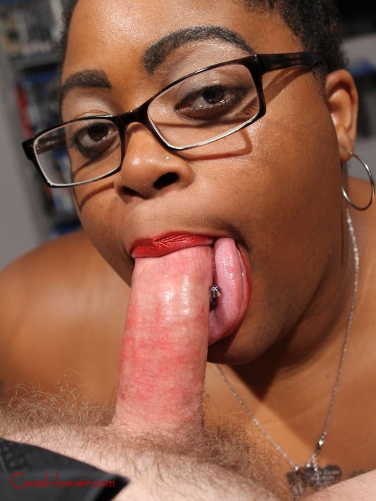 Cece Hoover, the ebony milf uses her serpentine tongue on a white dick.
