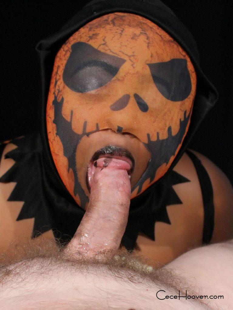 Cece Hoover gives a Halloween treat with her pumpkin head blow job.
