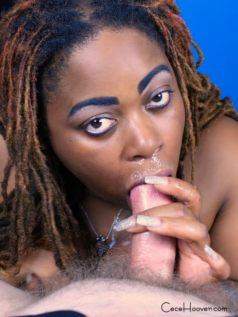 Cece Hoover gives a deep sloppy blow job.